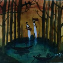 nature/scenery/women  fetching water - 22x27.5