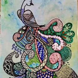 modern doodle painting art of peacock - 14x22