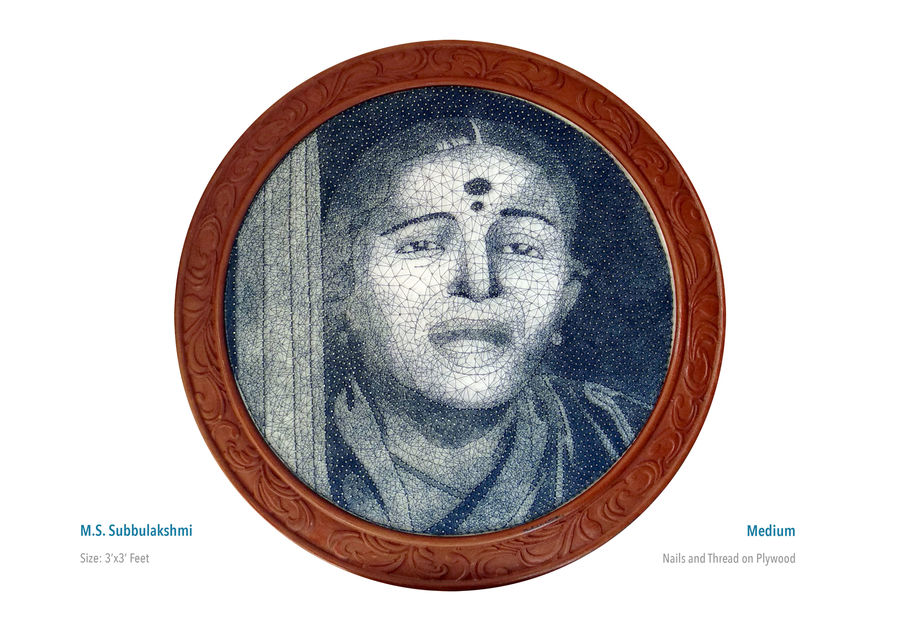 ms subbulakshmi, 36 x 36 inch, madhu s,36x36inch,wood board,portrait paintings,paintings for living room,paintings for office,paintings for hospital,paintings for living room,paintings for office,paintings for hospital,wood,metal,ADR21530030931