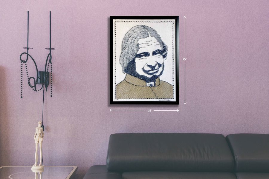 apj abdul kalam, 19 x 25 inch, madhu s,19x25inch,wood board,portrait paintings,paintings for living room,paintings for office,paintings for living room,paintings for office,wood,metal,ADR21530030933