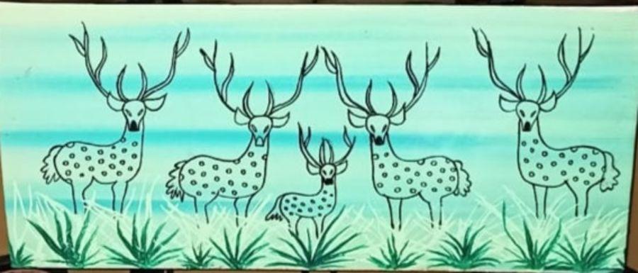 warli deers, 7 x 16 inch, namita sahoo,7x16inch,canvas,paintings,abstract paintings,figurative paintings,folk art paintings,illustration paintings,minimalist paintings,warli paintings,paintings for dining room,paintings for office,paintings for kids room,acrylic color,ADR21432030934