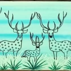 warli deers - 7x15.5