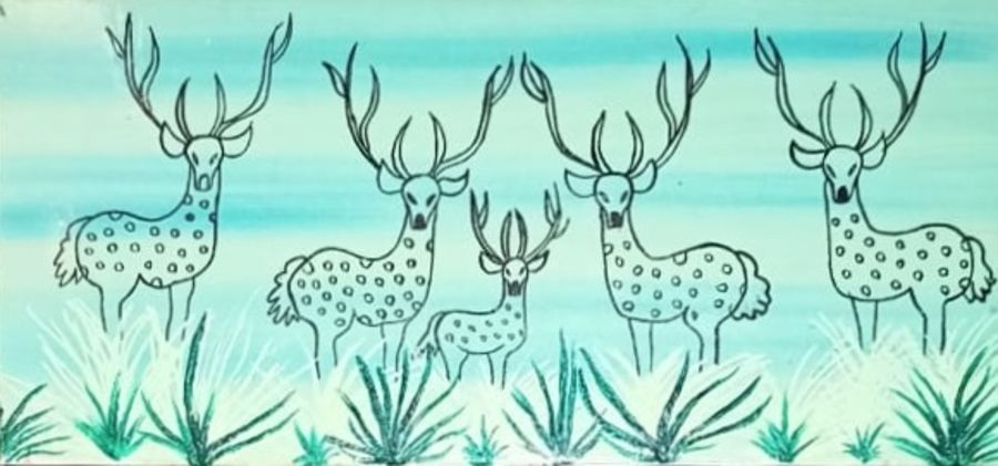 warli deers, 7 x 16 inch, namita sahoo,7x16inch,canvas,paintings,abstract paintings,wildlife paintings,figurative paintings,folk art paintings,modern art paintings,illustration paintings,animal paintings,warli paintings,paintings for living room,paintings for office,paintings for bathroom,paintings for hotel,acrylic color,ADR21432030935