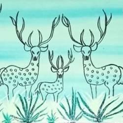 warli deers set 2 - 7x15.5