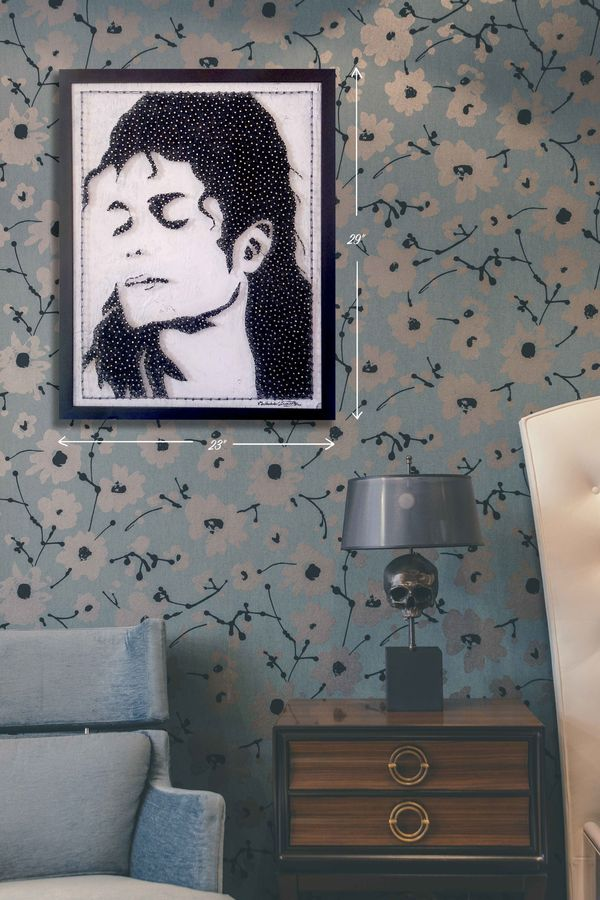 michel jackson, 19 x 25 inch, madhu s,19x25inch,wood board,portrait paintings,paintings for living room,paintings for bedroom,paintings for hotel,paintings for living room,paintings for bedroom,paintings for hotel,wood,metal,ADR21530030937