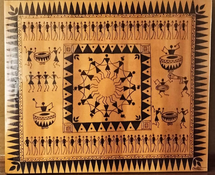 warli art in ochre , 25 x 21 inch, namita sahoo,25x21inch,canvas,paintings,abstract paintings,figurative paintings,folk art paintings,warli paintings,paintings for dining room,paintings for living room,paintings for office,paintings for hotel,acrylic color,ADR21432030942