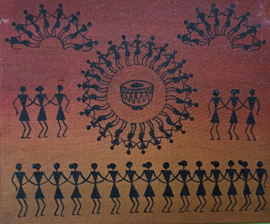 warli painting- the drums of life, 12 x 10 inch, namita sahoo,12x10inch,canvas,paintings,figurative paintings,illustration paintings,minimalist paintings,warli paintings,paintings for dining room,paintings for living room,paintings for bedroom,paintings for office,paintings for hotel,acrylic color,ADR21432030943
