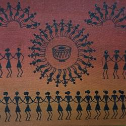 warli painting- the drums of life - 12x10