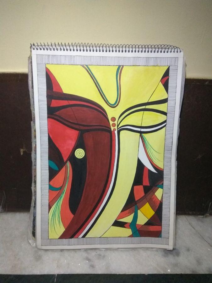lord ganesha, 11 x 15 inch, juhi roy,11x15inch,drawing paper,ganesha paintings | lord ganesh paintings,paper,ADR21539030944