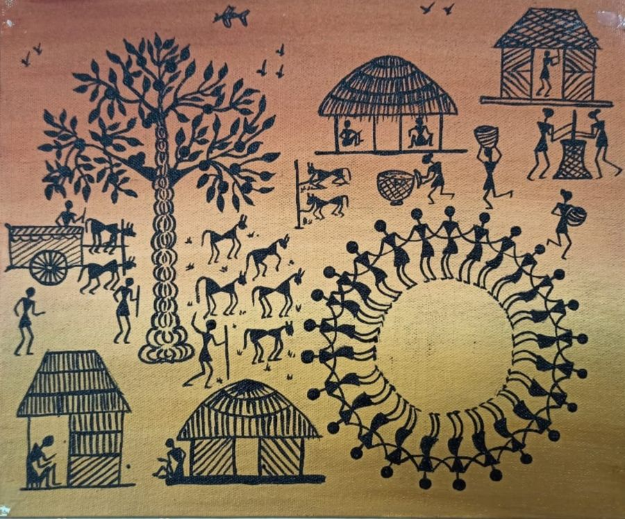 warli painting- a village view, 12 x 10 inch, namita sahoo,12x10inch,canvas,paintings,folk art paintings,art deco paintings,illustration paintings,minimalist paintings,warli paintings,paintings for dining room,paintings for living room,paintings for bedroom,paintings for office,paintings for hotel,paintings for kitchen,acrylic color,ADR21432030946