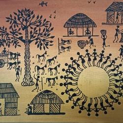 warli painting- a village view - 12x10