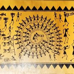 warli painting- the ochre glow - 30x12