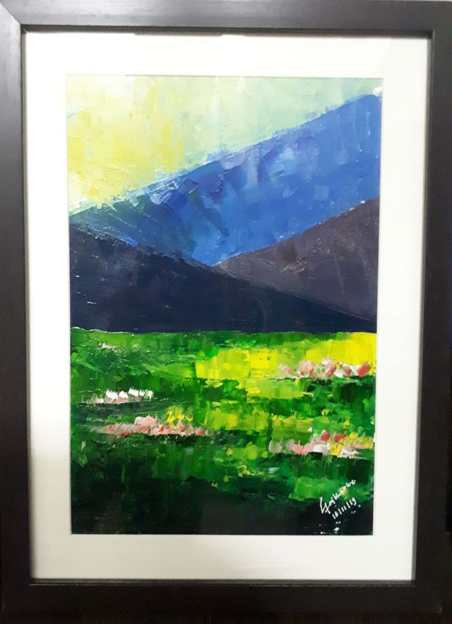 lake and mountains , 10 x 13 inch, yogiraj gajbhar,10x13inch,thick paper,paintings,landscape paintings,nature paintings | scenery paintings,impressionist paintings,paintings for bedroom,paintings for office,oil color,ADR21475030951