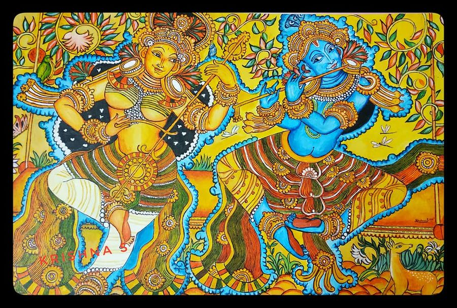 radhakrishna, 60 x 80 inch, krishna s,60x80inch,canvas,paintings,religious paintings,radha krishna paintings,kerala murals painting,paintings for living room,paintings for hotel,acrylic color,ink color,ADR21580030956
