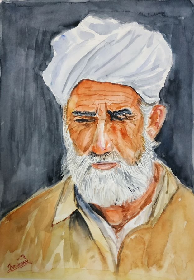 old man, 23 x 31 inch, krishna s,23x31inch,handmade paper,still life paintings,portrait paintings,realism paintings,realistic paintings,paintings for dining room,paintings for bedroom,paintings for hotel,paintings for dining room,paintings for bedroom,paintings for hotel,watercolor,ADR21580030957