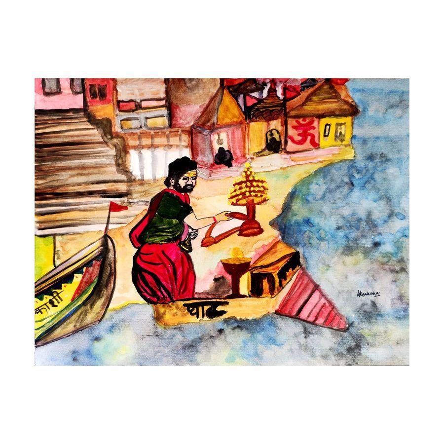 a glimpse of varanasi (kaashi), 11 x 8 inch, akanksha singh,11x8inch,thick paper,paintings,figurative paintings,cityscape paintings,landscape paintings,religious paintings,nature paintings | scenery paintings,art deco paintings,illustration paintings,photorealism paintings,photorealism,realism paintings,contemporary paintings,lord shiva paintings,paintings for living room,paintings for office,paintings for hotel,paintings for schools & colleges,paintings for hospital,acrylic color,ink color,mixed media,watercolor,ADR21501030962
