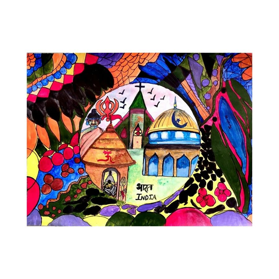 unity in diversity : india, 11 x 8 inch, akanksha singh,11x8inch,thick paper,landscape paintings,abstract expressionism paintings,expressionism paintings,illustration paintings,impressionist paintings,photorealism paintings,realism paintings,surrealism paintings,realistic paintings,paintings for office,paintings for hotel,paintings for schools & colleges,paintings for hospital,paintings for office,paintings for hotel,paintings for schools & colleges,paintings for hospital,acrylic color,ink color,watercolor,ADR21501030963