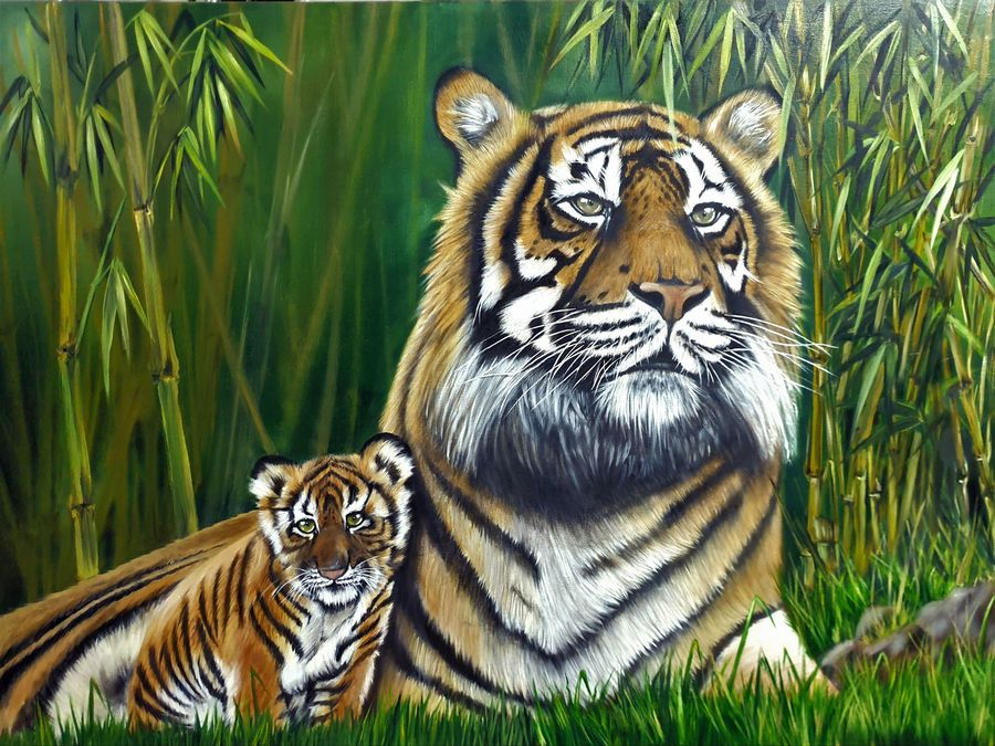 mother, 36 x 48 inch, mohammad riaz,36x48inch,canvas,paintings,wildlife paintings,nature paintings | scenery paintings,animal paintings,realistic paintings,love paintings,paintings for living room,paintings for office,paintings for hotel,paintings for living room,paintings for office,paintings for hotel,oil color,ADR20800030964
