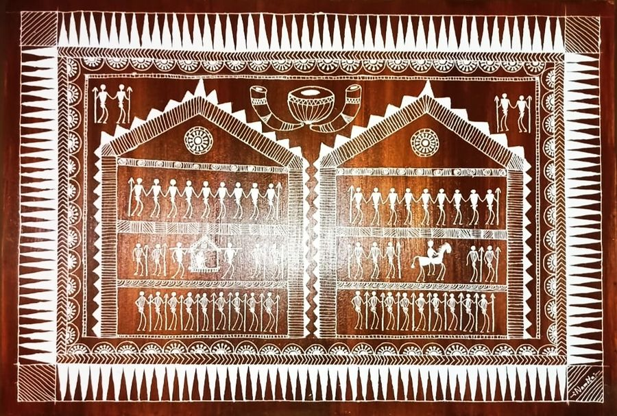 warli art on a wooden pallete, 35 x 24 inch, namita sahoo,35x24inch,wood board,paintings,figurative paintings,folk art paintings,art deco paintings,illustration paintings,impressionist paintings,minimalist paintings,lord shiva paintings,miniature painting.,paintings for dining room,paintings for living room,paintings for office,paintings for hotel,acrylic color,wood,ADR21432030965