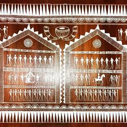 warli art on a wooden pallete - 35x24
