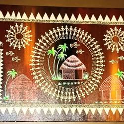 warli painting- The shades of tribes - 48x18