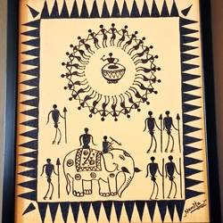 warli painting- Joy of the drums - 10x12