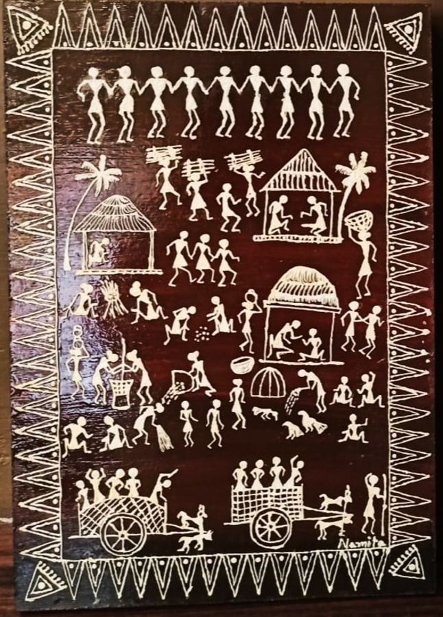 warli painting- the brown tint, 10 x 15 inch, namita sahoo,10x15inch,wood board,paintings,figurative paintings,folk art paintings,conceptual paintings,art deco paintings,illustration paintings,minimalist paintings,warli paintings,paintings for dining room,paintings for living room,paintings for bedroom,paintings for office,paintings for hotel,acrylic color,wood,ADR21432030978