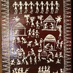 warli painting- the brown tint - 10x15