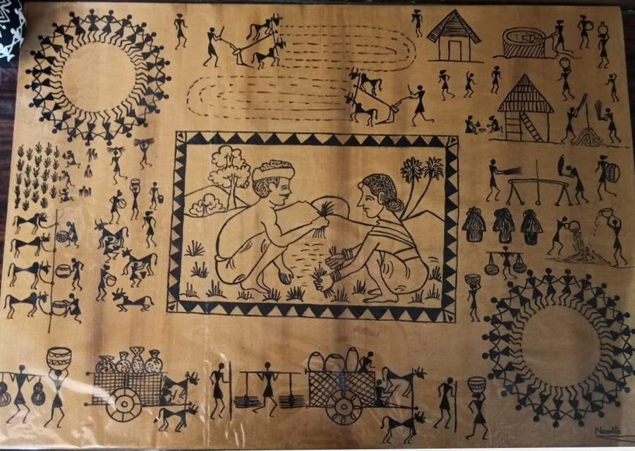 warli painting- love of working togeather, 24 x 18 inch, namita sahoo,24x18inch,canvas board,paintings,figurative paintings,folk art paintings,conceptual paintings,art deco paintings,illustration paintings,minimalist paintings,warli paintings,paintings for dining room,paintings for living room,paintings for bedroom,paintings for office,paintings for hotel,acrylic color,ADR21432030979