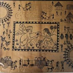 Warli painting- love of working togeather - 24x18