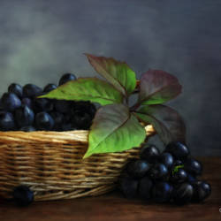 Table Decor Art - Grapes in Basket - 30x19