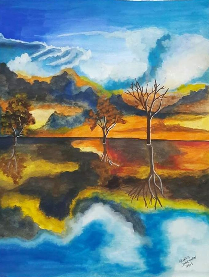 trees near lakeside with reflection, 11 x 14 inch, reema ravindran,11x14inch,paper,paintings,landscape paintings,poster color,ADR18773031008