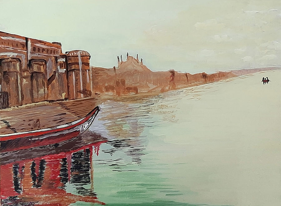 varanasi ghat, 16 x 12 inch, tejal bhagat,16x12inch,canvas board,paintings,cityscape paintings,landscape paintings,religious paintings,nature paintings | scenery paintings,expressionism paintings,impressionist paintings,photorealism paintings,photorealism,realism paintings,surrealism paintings,realistic paintings,kalighat painting,paintings for dining room,paintings for living room,paintings for bedroom,paintings for office,paintings for hotel,paintings for kitchen,paintings for schools & colleges,paintings for hospital,acrylic color,ADR21262031010