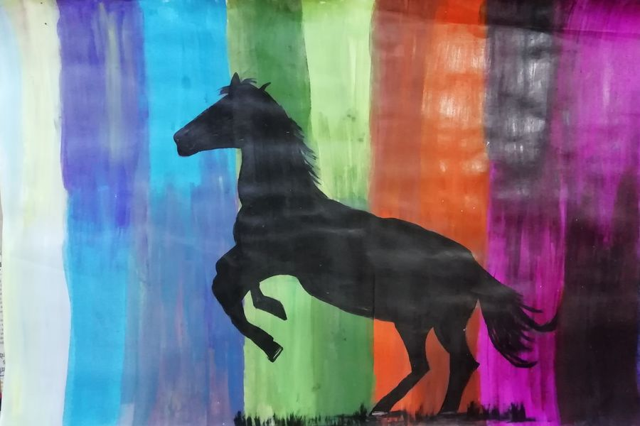 rainbow horse, 22 x 15 inch, shweta jain,22x15inch,drawing paper,animal paintings,horse paintings,paintings for living room,paintings for hotel,paintings for living room,paintings for hotel,acrylic color,ink color,pencil color,paper,ADR18280031017