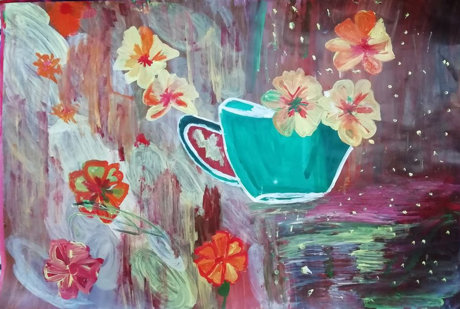falling flowers cup , 22 x 15 inch, shweta jain,22x15inch,drawing paper,paintings,abstract paintings,flower paintings,paintings for dining room,paintings for living room,paintings for hotel,paintings for schools & colleges,acrylic color,paper,ADR18280031021