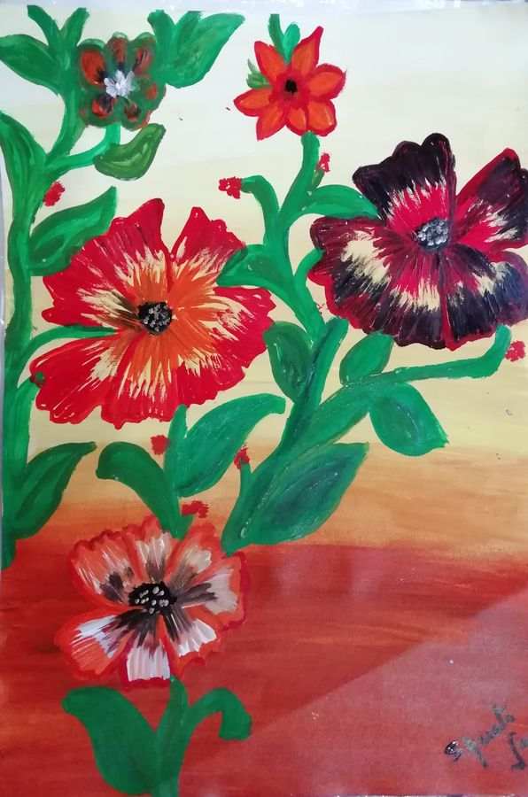flowers in autumn season, 12 x 17 inch, shweta jain,12x17inch,drawing paper,paintings,flower paintings,nature paintings | scenery paintings,paintings for dining room,paintings for living room,paintings for bedroom,paintings for office,paintings for bathroom,paintings for kids room,paintings for hotel,paintings for kitchen,paintings for schools & colleges,paintings for hospital,acrylic color,paper,ADR18280031023