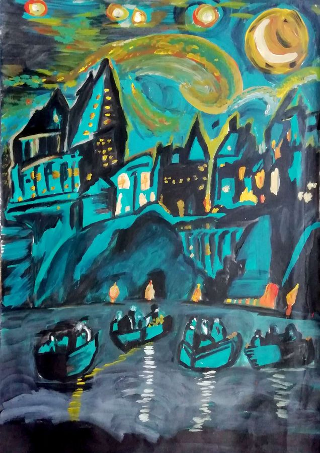night seen oh harry potter, 12 x 17 inch, shweta jain,12x17inch,drawing paper,paintings,abstract paintings,cityscape paintings,art deco paintings,illustration paintings,paintings for living room,paintings for hotel,paintings for schools & colleges,acrylic color,paper,ADR18280031024