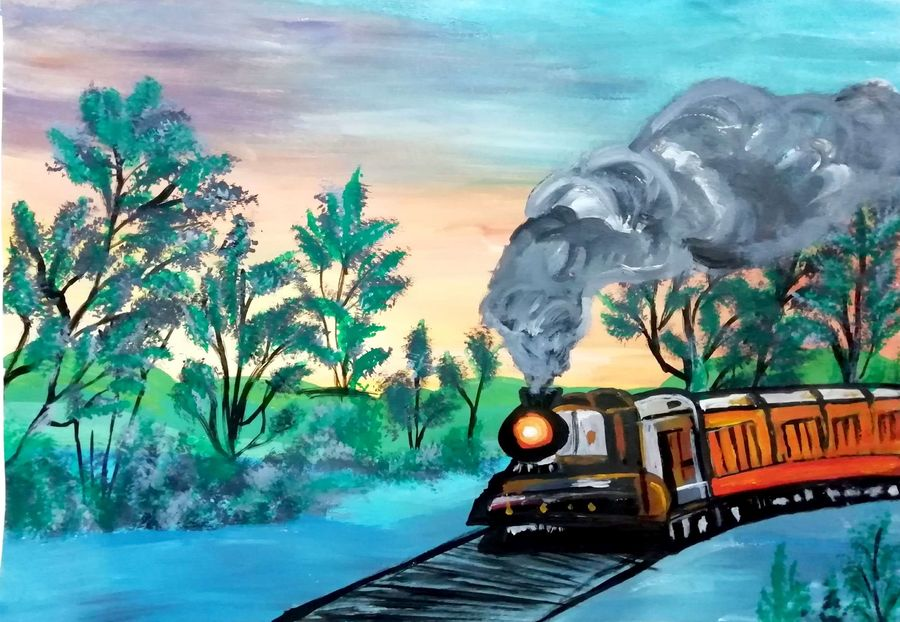 steam train in forest, 12 x 17 inch, shweta jain,12x17inch,drawing paper,nature paintings | scenery paintings,art deco paintings,portraiture,paintings for dining room,paintings for living room,paintings for bedroom,paintings for office,paintings for kids room,paintings for hotel,paintings for schools & colleges,paintings for hospital,paintings for dining room,paintings for living room,paintings for bedroom,paintings for office,paintings for kids room,paintings for hotel,paintings for schools & colleges,paintings for hospital,acrylic color,paper,ADR18280031025