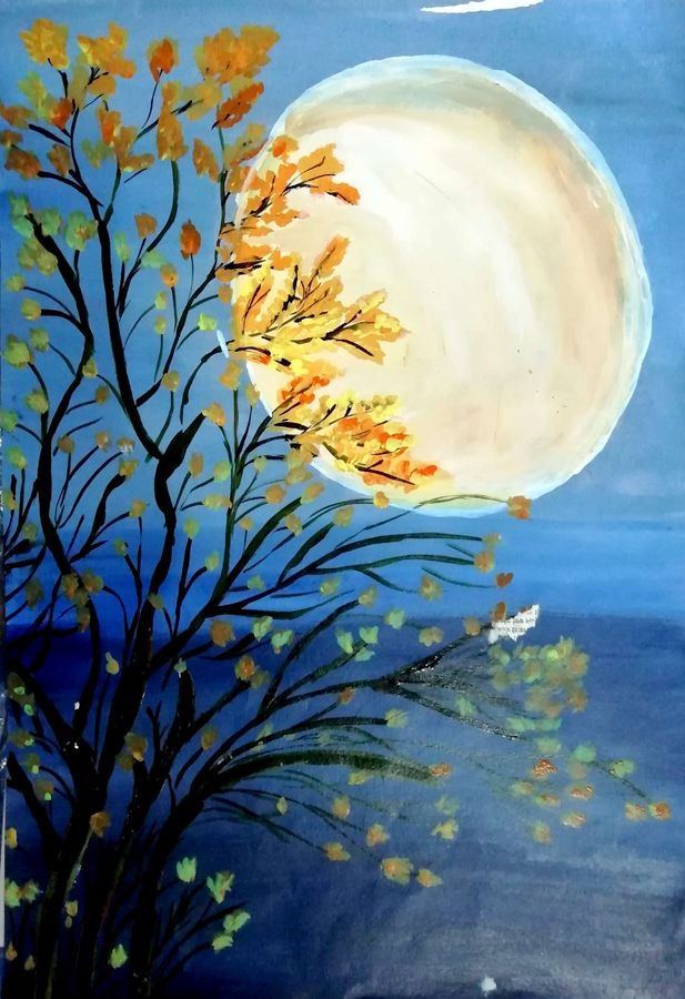 flowers and leafs shadowing moon, 12 x 17 inch, shweta jain,12x17inch,drawing paper,paintings,flower paintings,nature paintings | scenery paintings,art deco paintings,paintings for dining room,paintings for living room,paintings for bedroom,paintings for office,paintings for kids room,paintings for hotel,paintings for schools & colleges,paintings for hospital,acrylic color,paper,ADR18280031026