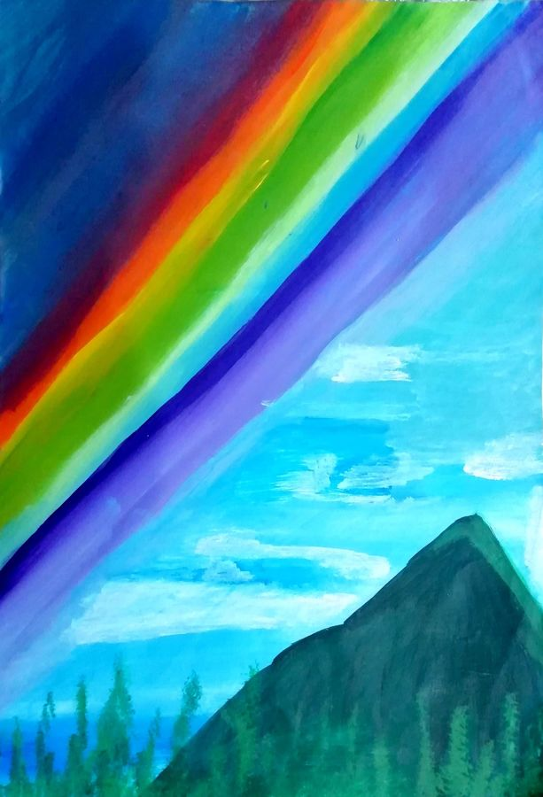 rainbow colors with mountain, 12 x 17 inch, shweta jain,12x17inch,drawing paper,paintings,nature paintings | scenery paintings,art deco paintings,paintings for dining room,paintings for living room,paintings for bedroom,paintings for office,paintings for bathroom,paintings for kids room,paintings for hotel,paintings for schools & colleges,paintings for hospital,acrylic color,paper,ADR18280031027