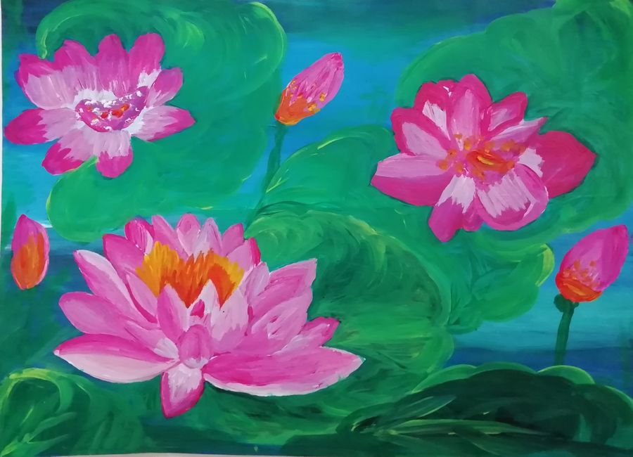 lotus, 15 x 11 inch, shweta jain,15x11inch,drawing paper,paintings,flower paintings,nature paintings | scenery paintings,paintings for dining room,paintings for living room,paintings for bedroom,paintings for bathroom,paintings for kids room,paintings for hotel,paintings for kitchen,paintings for schools & colleges,paintings for hospital,acrylic color,paper,ADR18280031029
