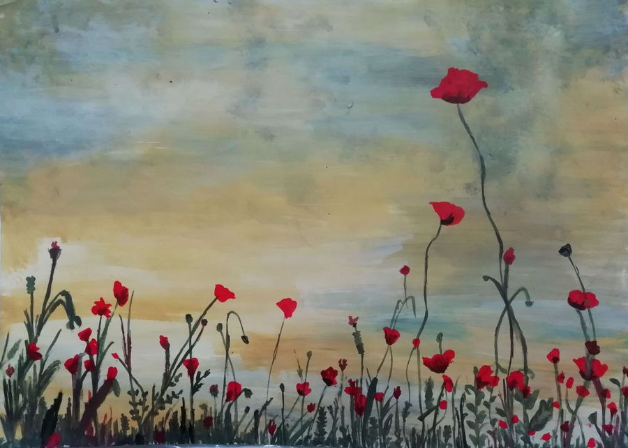 flowers talking to evening, 15 x 11 inch, shweta jain,15x11inch,drawing paper,paintings,flower paintings,nature paintings   scenery paintings,abstract expressionism paintings,art deco paintings,paintings for dining room,paintings for living room,paintings for bedroom,paintings for office,paintings for kids room,paintings for hotel,paintings for schools & colleges,acrylic color,paper,ADR18280031030