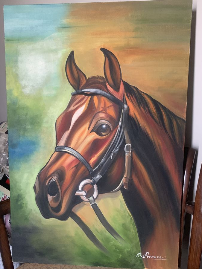 the horse , 24 x 36 inch, poonam singh,24x36inch,canvas,wildlife paintings,oil color,ADR19723031031