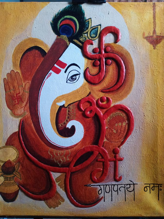 homedacor paintings, 15 x 20 inch, ekta patel,15x20inch,canvas,religious paintings,ganesha paintings | lord ganesh paintings,paintings for living room,paintings for hotel,paintings for living room,paintings for hotel,acrylic color,mixed media,ADR21715031033