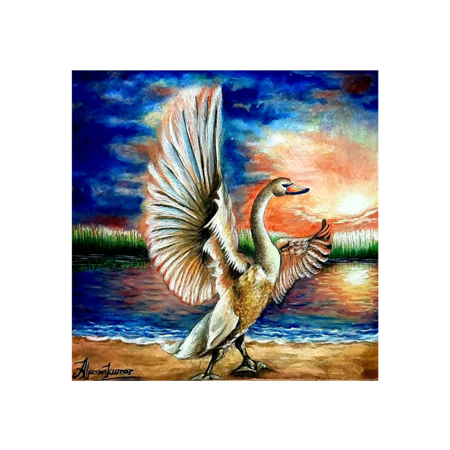 bird in the morning , 14 x 14 inch, alpana  kumar ,14x14inch,renaissance watercolor paper,paintings,nature paintings | scenery paintings,paintings for living room,paintings for office,paintings for kids room,paintings for hotel,paintings for schools & colleges,watercolor,ADR19728031034
