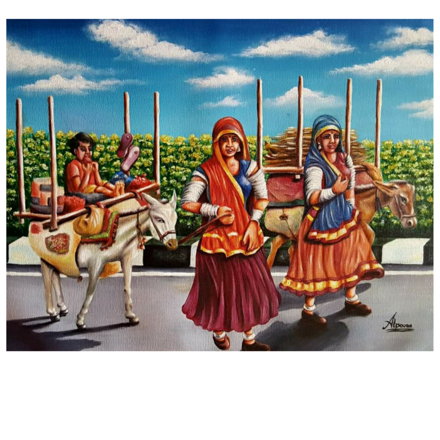 nomads on the road, 27 x 21 inch, alpana  kumar ,27x21inch,canvas,paintings,illustration paintings,impressionist paintings,realistic paintings,paintings for living room,paintings for office,paintings for hotel,paintings for schools & colleges,oil color,ADR19728031039