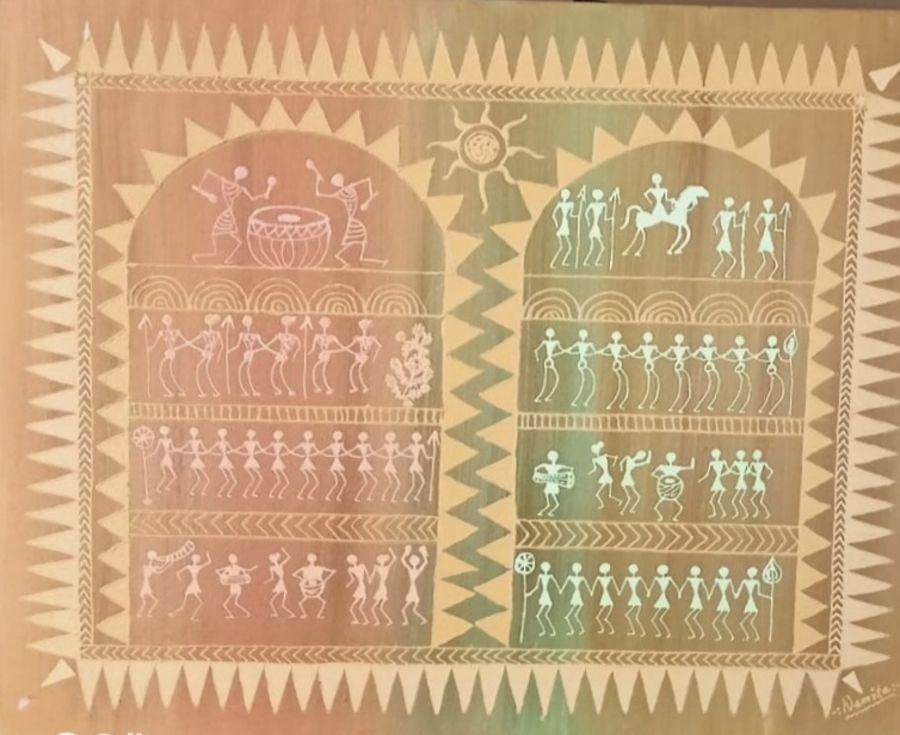 warli painting, 22 x 18 inch, namita sahoo,22x18inch,canvas board,paintings,figurative paintings,folk art paintings,art deco paintings,minimalist paintings,warli paintings,paintings for dining room,paintings for living room,paintings for office,paintings for hotel,acrylic color,ADR21432031041