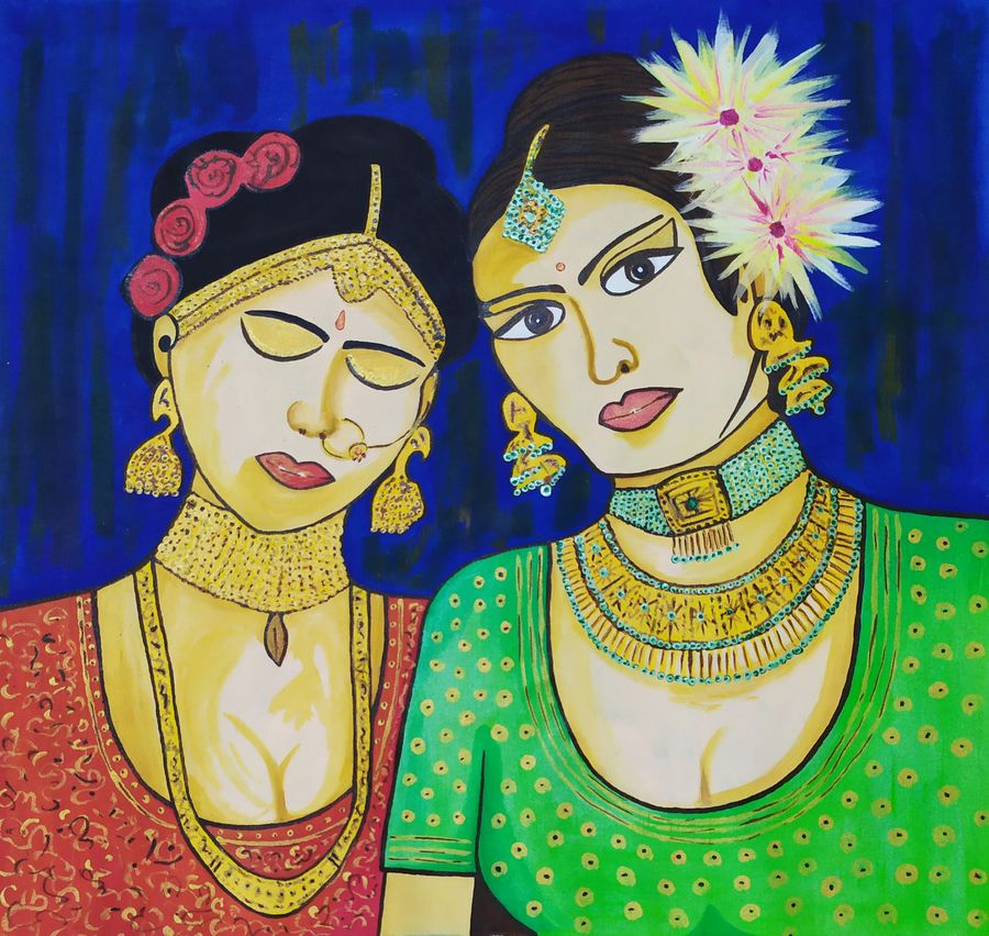 couple indian women, 15 x 15 inch, sourav ghosh,15x15inch,cloth,paintings,figurative paintings,modern art paintings,portrait paintings,art deco paintings,illustration paintings,portraiture,love paintings,paintings for dining room,paintings for living room,paintings for bedroom,paintings for dining room,paintings for living room,paintings for bedroom,acrylic color,fabric,ADR21603031042