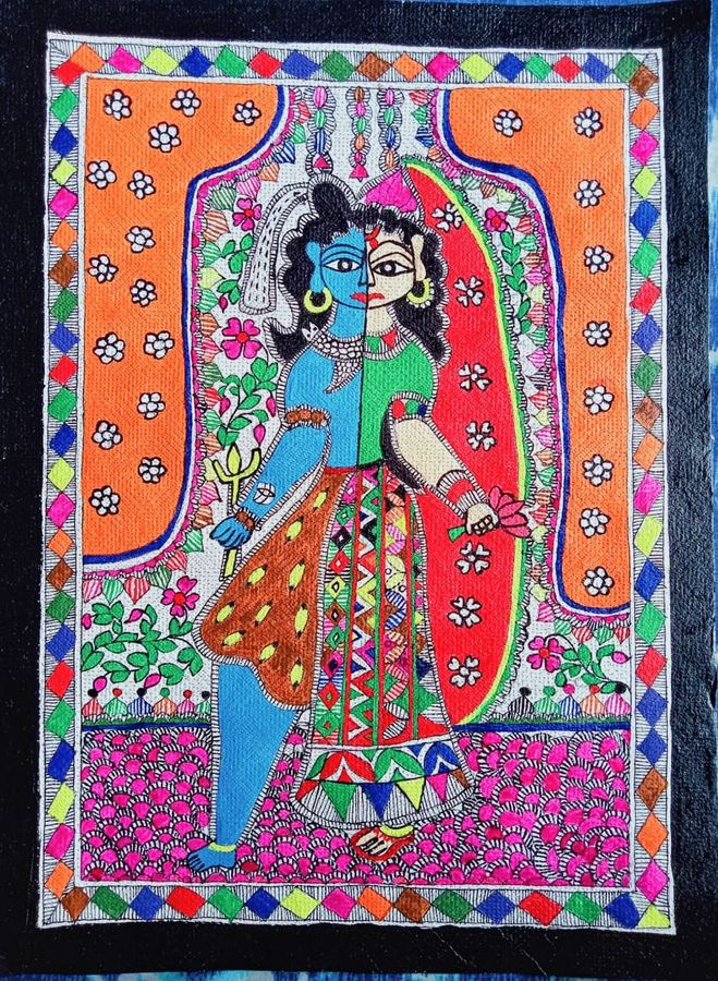 shiv-parvati as ardhanarishwar , 15 x 11 inch, nimisha kumari,15x11inch,handmade paper,paintings,religious paintings,love paintings,madhubani paintings | madhubani art,lord shiva paintings,paintings for living room,paintings for bedroom,paintings for office,paintings for hotel,paintings for hospital,acrylic color,mixed media,paper,ADR21746031046