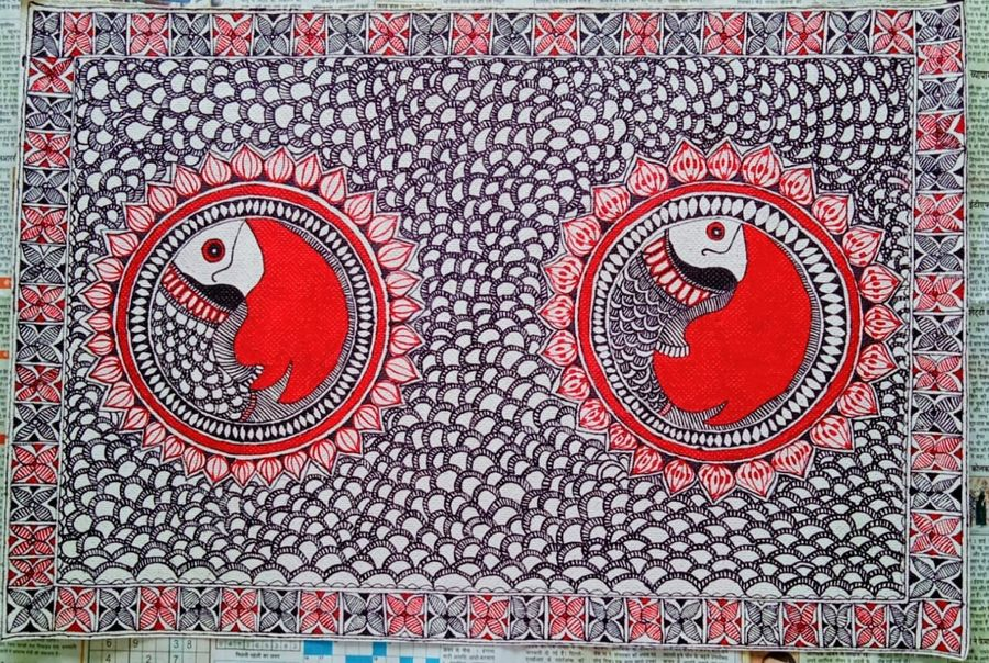 moving fish , 22 x 15 inch, nimisha kumari,22x15inch,handmade paper,paintings,animal paintings,madhubani paintings | madhubani art,paintings for dining room,paintings for living room,paintings for bedroom,paintings for office,paintings for hotel,acrylic color,mixed media,paper,ADR21746031047